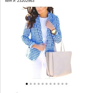 J Crew Gingham Blazer in blue.